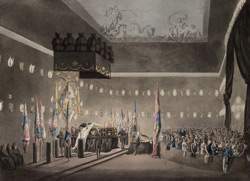 Remains of Lord Viscount Nelson lying in state in the Painted Chamber at Greenwich Hospital
